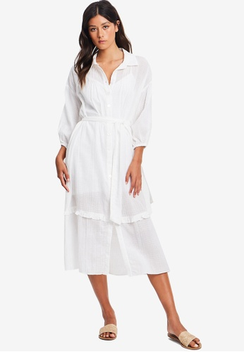 The Fated white Mabel Shirt Dress B7A95AA31B423AGS_1