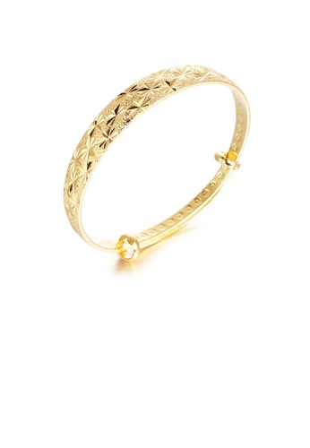 Glamorousky silver Fashion and Elegant Plated Gold Frosted Geometric Bangle 5BCA6AC882B28AGS_1