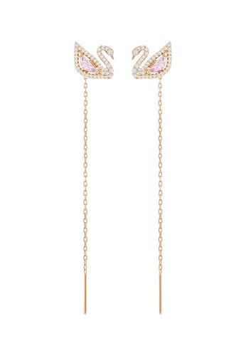 SWAROVSKI gold Dazzling Swan Pierced Long Earrings 31A56AC912CF0AGS_1