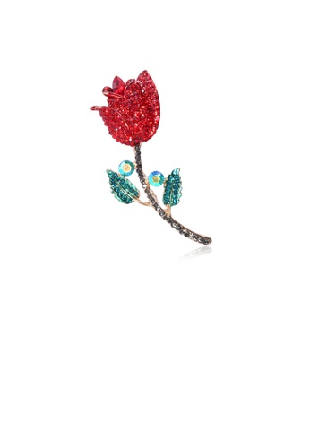 Glamorousky green Fashion and Dazzling Plated Gold Rose Brooch with Red Cubic Zirconia BFB98ACB84B654GS_1