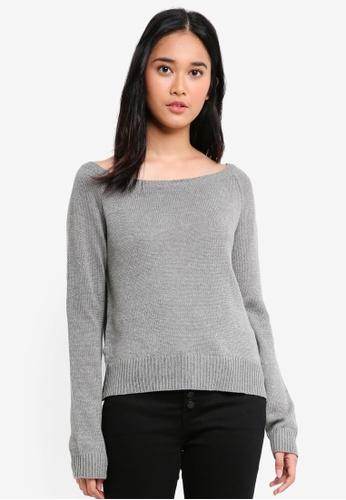 Penshoppe grey Flat Knit Pullover 78B0FAADC68F30GS_1