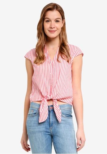 ESPRIT pink Woven Short Sleeve Blouse 88442AA5D2F6A5GS_1
