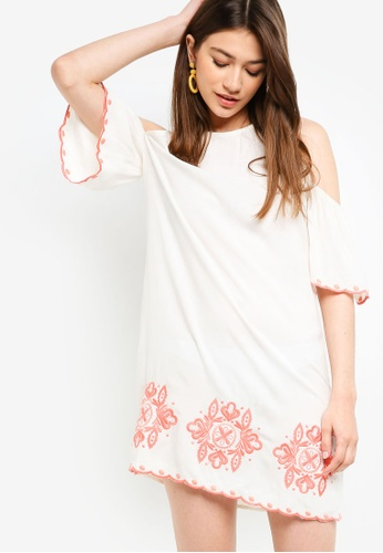 Something Borrowed white Scallop Embroidery Shift Dress 9165CAAE02F5C7GS_1
