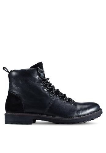 Burton Menswear London black Black Leather Hiking Boots 5B006SH9C9EBDDGS_1