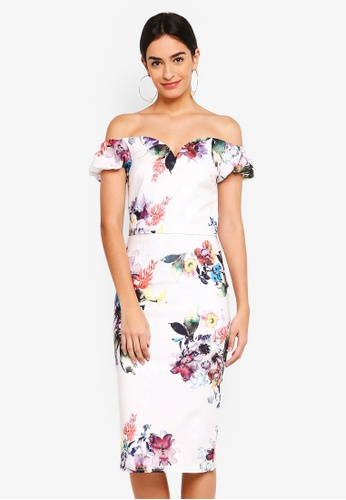 Little Mistress white Floral Bodycon Dress A4F08AAA9870D5GS_1