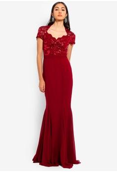 48fb14f424f Goddiva red Sequin And Lace Scalloped Neckline Maxi Dress 427FAAA4DE8977GS 1