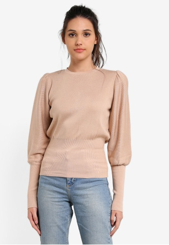 Miss Selfridge beige Camel Puff Sleeve Knitted Jumper MI665AA0RX9VMY_1