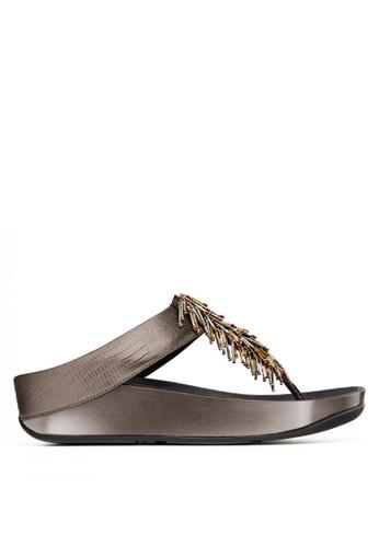 Fitflop silver Cha Cha Toe-Post Sandals FI522SH06SCFMY_1