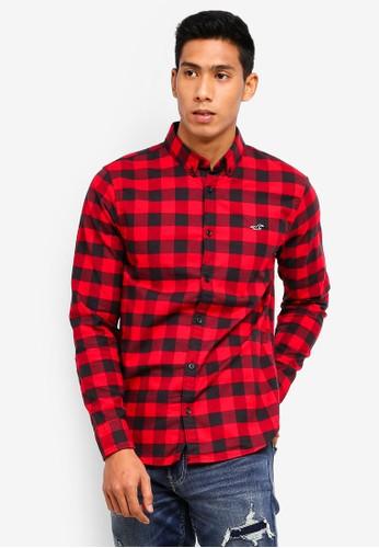 Hollister red Slim Oxford Shirt 86C2FAA2D52FEBGS_1