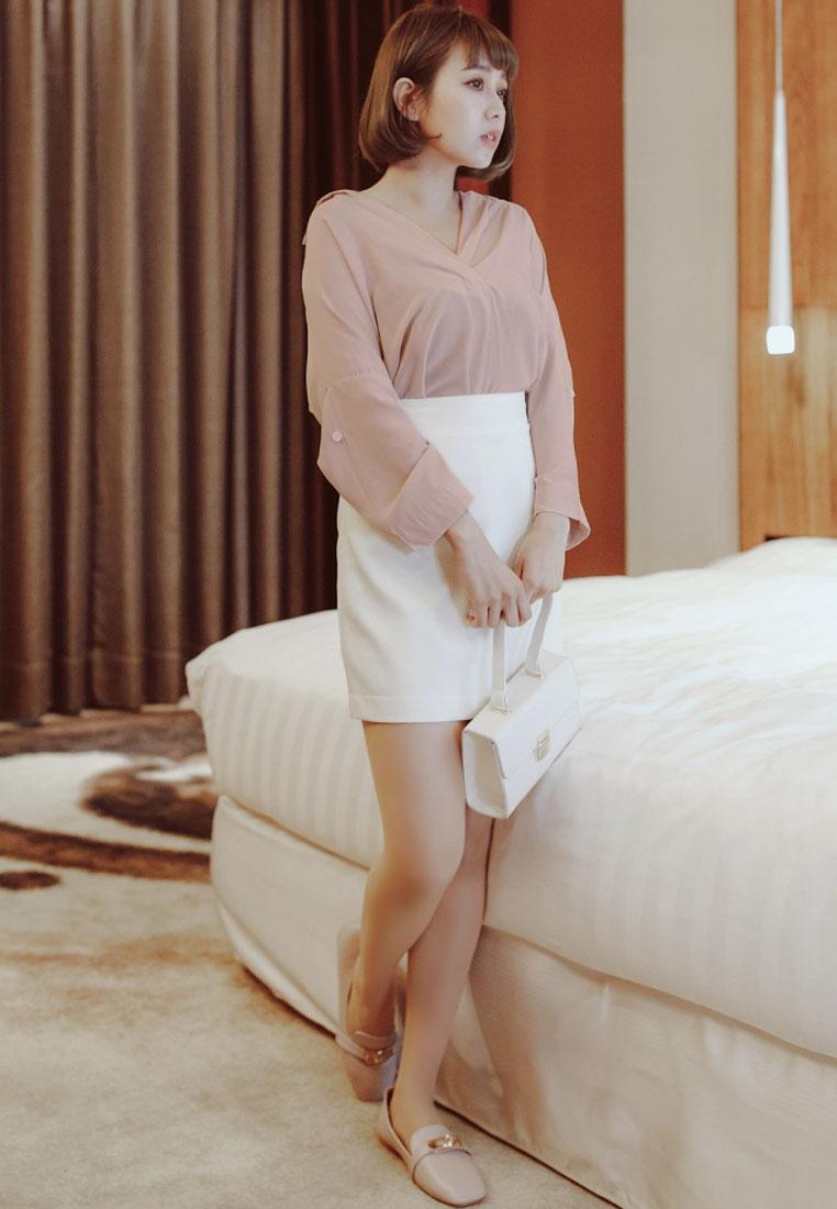 Pink Wide Minimalist Eyescream Collar Shirt ORIwgq