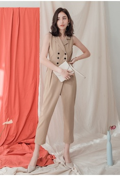 572dfe8f4ad9 18% OFF Kodz Lapel Double Breasted Solid Jumpsuit S$ 64.90 NOW S$ 52.90  Sizes S M L