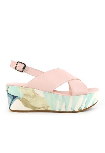 Joy & Peace pink Cross Strap Sandals JO458SH69YHEHK_1