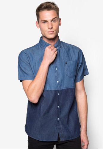 色塊esprit 京站短袖襯衫, 服飾, 襯衫