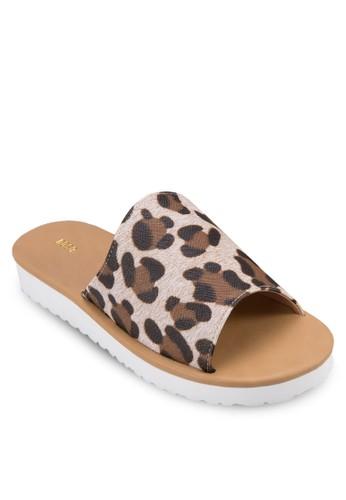 動物紋寬帶厚底涼鞋, 女鞋,zalora 心得 涼鞋
