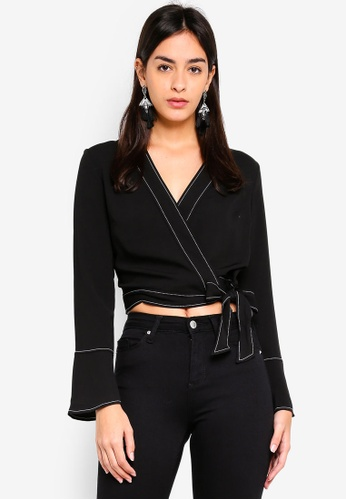 Miss Selfridge black Top Stitch Wrap Blouse 958C4AA07E1293GS_1