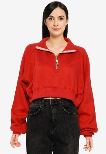 Public Desire red Seam Detail Half Zip Crop Sweatshirt 7B4B3AA96BDD7CGS_1