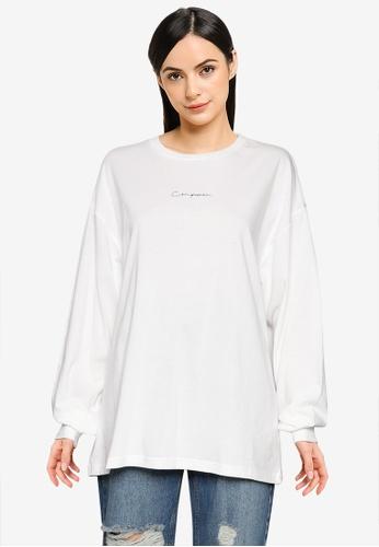 LOWRYS FARM white Slogan Knit T-Shirt 8928BAA6657E31GS_1
