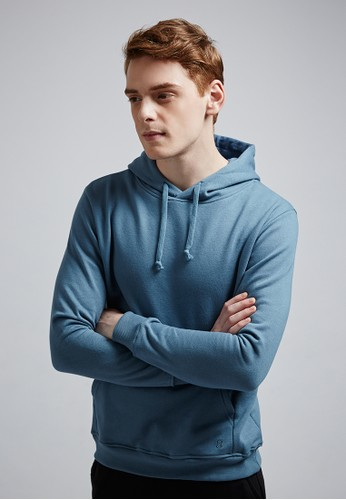 經典簡約。口袋進化。高磅刷毛zalora taiwan 時尚購物網鞋子棉質連帽T-MIT-03730-藍色, 服飾, 連帽上衣