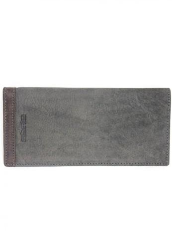 midzone grey Genuine Leather Bifold Long Wallet MI949AC81ISWMY_1