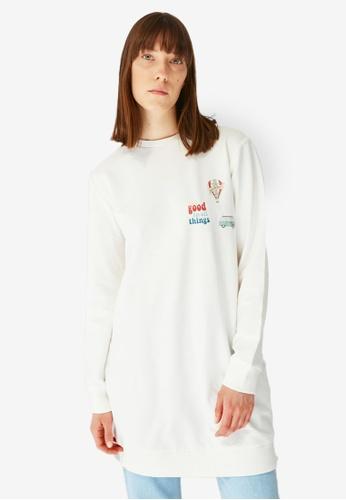 Trendyol 白色 Printed Knitted Sweatshirt 74F43AA3CCDAADGS_1
