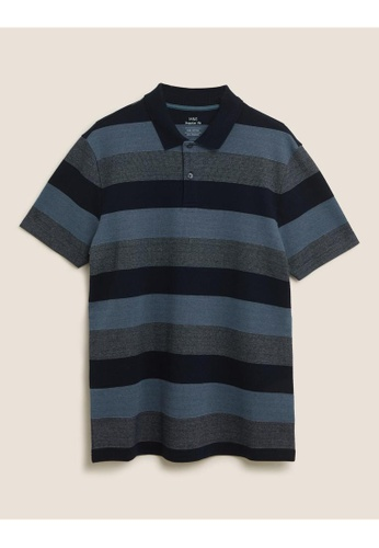 MARKS & SPENCER blue M&S Pure Cotton Double Knit Striped Polo Shirt 567AFAA6B44ED7GS_1
