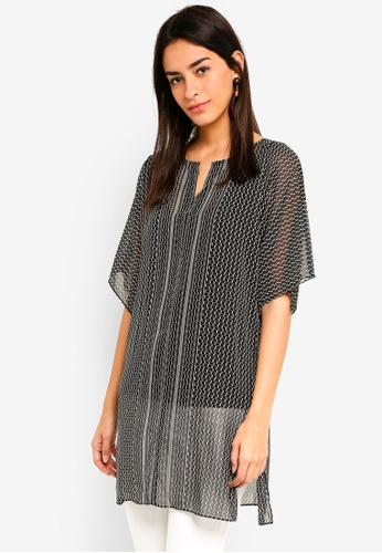 Max Studio black Woven Short Sleeve Tunic Top 41231AA7FA46AEGS_1
