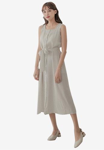 Eyescream white Polka Dot Below Knee Sleeveless Dress 400A1AAC86333BGS_1