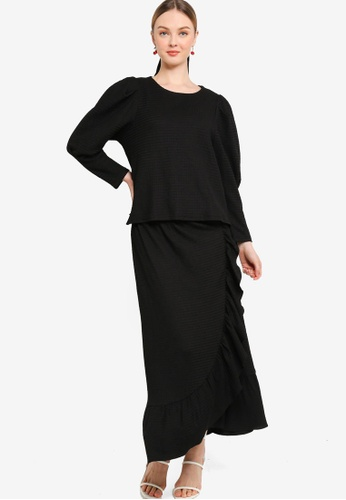 Lubna black Puff Sleeve Top With Drape Skirt Set BFD88AAB55B711GS_1