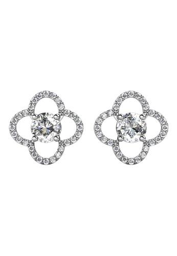 Her Jewellery CELÈSTA Moissanite Diamond - Mon Trefle Earrings (925 Silver with 18K White Gold Plating) by Her Jewellery B7E6FAC9E8D285GS_1