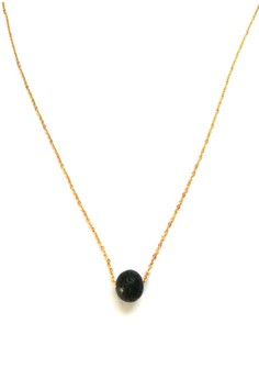 Stainless Gold Lava Stone Charm Necklace