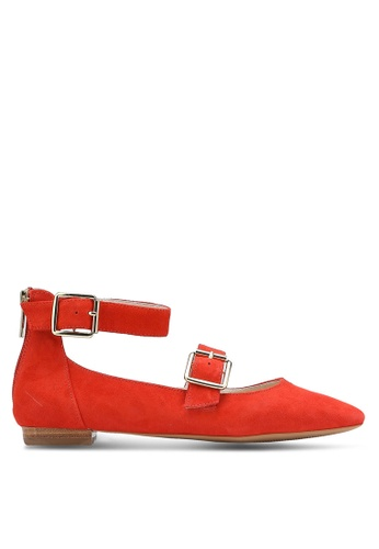 TOPSHOP orange Katrina Suede Buckle Ballerinas TO412SH0RFTQMY_1