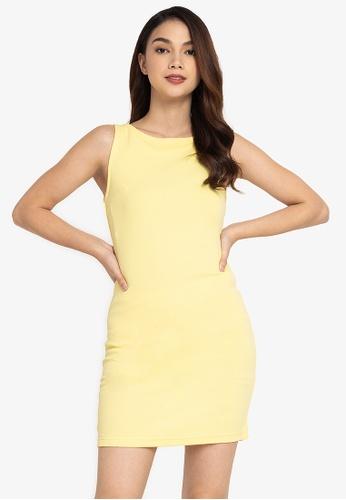 ZALORA BASICS yellow Knot Back Detail Sleeveless Dress 08B17AA124CA77GS_1
