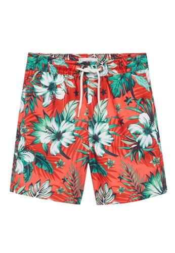 MANGO KIDS red Hawaiian Print Swimming Trunks 8B20AKAACCEB41GS_1