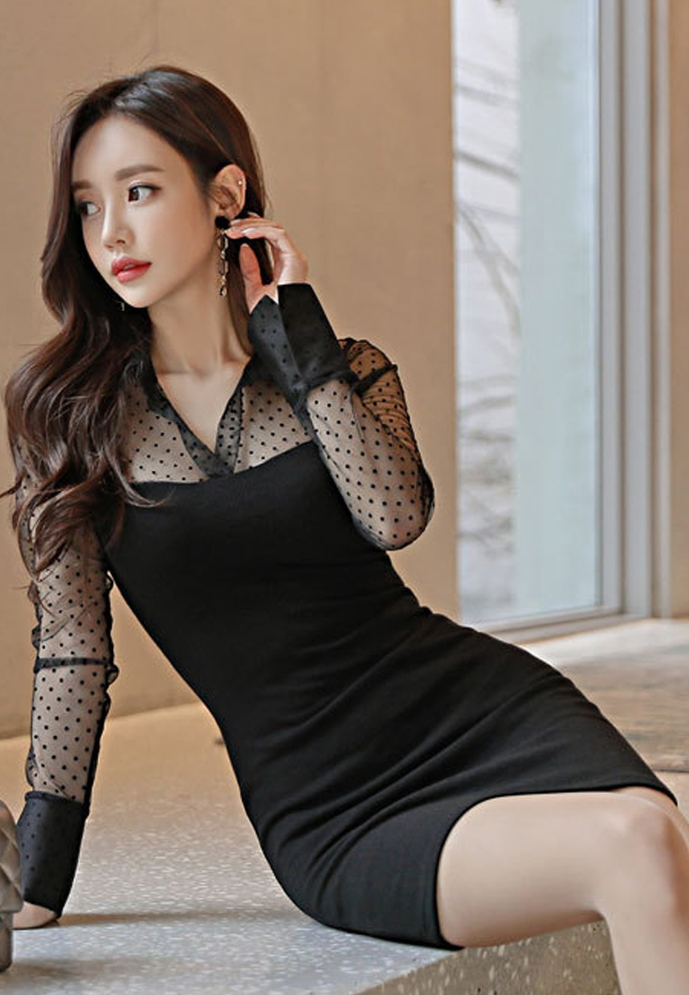 2018 CA031909 See Through One Sunnydaysweety Dress Black Piece New Dotted Black rUwrOP