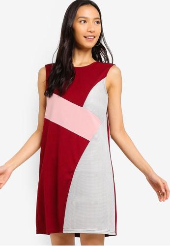 ZALORA 紅色 and 粉紅色 撞色紋理拼接短洋裝 7B2C8AA3D6FE22GS_1