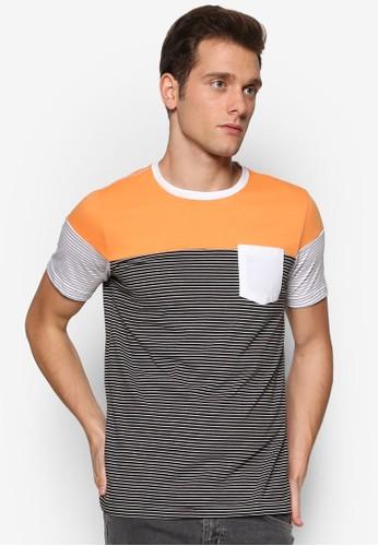 撞色條紋拼接esprit香港門市短袖TEE, 服飾, 條紋T恤