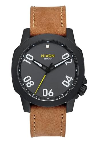 Nixon black and brown Nixon - Ranger 40 Leather Black/Brown Watch NI855AC03DZSSG_1