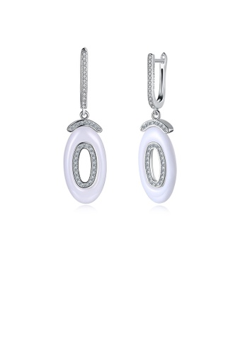 Glamorousky white 925 Sterling Silver Fashion Geometric Oval White Ceramic Earrings with Austrian Element Crystal 318BFAC267C4B0GS_1