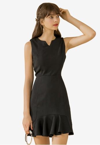 Eyescream black Flare Hem Fitted Dress 38C7EAAC5F8C1CGS_1