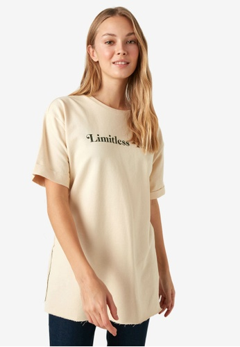 LC Waikiki beige Letter Printed T-Shirt 9709EAA9DC056AGS_1