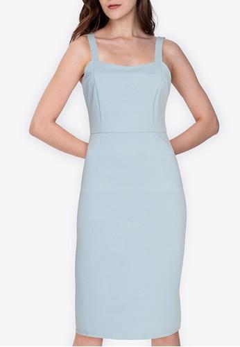 ZALORA WORK blue Square Neck Bodycon Dress FD6B7AAE00FDE7GS_1
