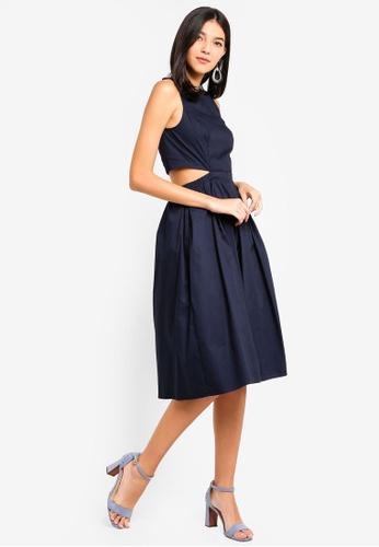 ZALORA blue Sleeveless Cut Out Midi Dress 6C5B4AADF4EC1AGS_1