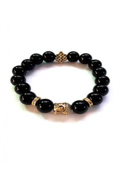 Feng Shui Onyx Gold Plated Healing Buddha with Mystic Knot Bracelet
