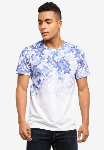 Burton Menswear London white Blue And White Floral Fade T-Shirt 0E487AA29B5744GS_1