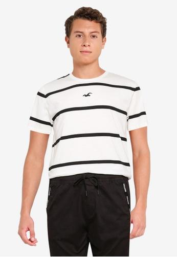 Hollister white Crew Stripes T-Shirt EC5A6AADE4474EGS_1