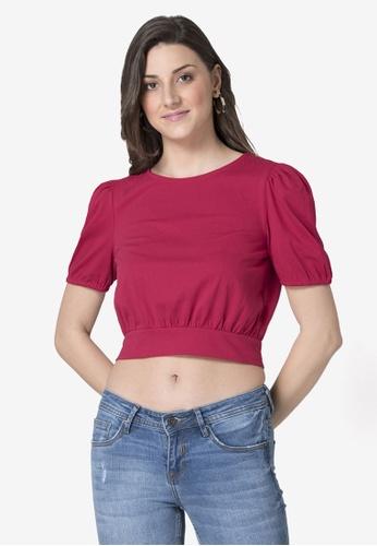 FabAlley pink Hot Pink Puff Sleeve Knit Crop Top CECE5AAA9DD545GS_1