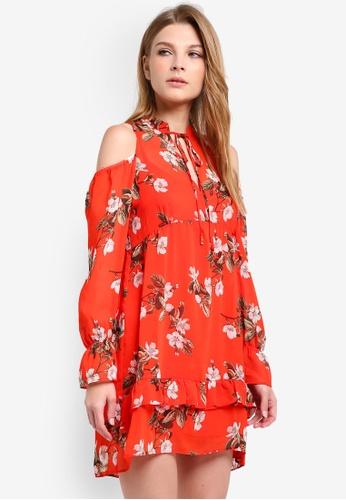 Miss Selfridge orange Orchid Print Smock Floral Dress MI665AA0RQIZMY_1