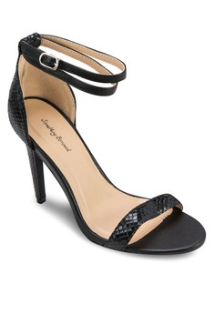 Textured Double Wrap Strappy Heel Sandals