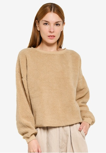 niko and ... brown Shearling Cropped Sweater D15D6AA9FE4D27GS_1