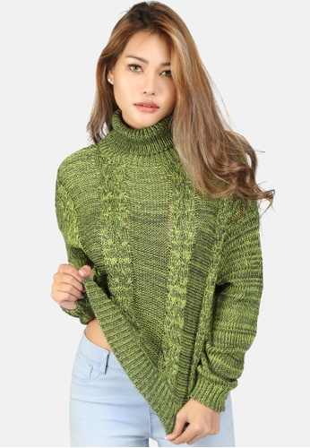 London Rag green Cable Knit Turtle Neck Sweater 69DBDAABE9F734GS_1